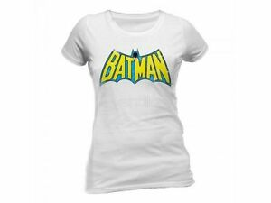 Official Batman - Retro Logo - Ladies White T-Shirt