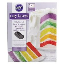 "Wilton Easy Layer 6"" Rainbow Colours Cake Baking Pan Set Non Stick Set of 5"