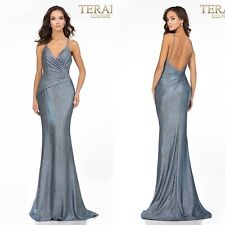 TERANI COUTURE PROM PAGEANT EVENING GOWN SPARKLY BLUE BNWT