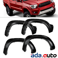 Fit 2012-2015 Toyota Tacoma Pocket Style 73.5in Long Bed Black ABS Fender Flares