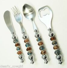 #8506- HAND ASSEMBLED SILVERTONE EURO BROWN BLUE BEADED COCKTAIL SERVING SET (4)