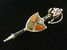 Vintage or Antique sterling silver brooch Scottish sword and shield with agates