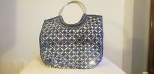 PURSE HANDBAG BLUE SUEDE & RHINESTONES  LOTS OF BLING !!