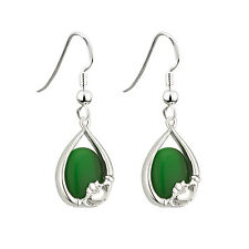 Irish Claddagh Earrings with Green Cats Eye by Solvar
