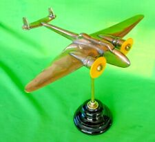 Old solid bronze WW2 trench art Twin Prop Aeroplane on stand desktop paperweight