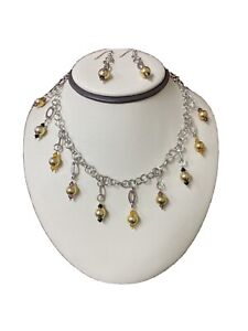 Fun Sterling Silver 925 Amethyst Onyx Citrine Dangle Cable Necklace& Earring Set