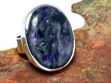 CHAROITE   Sterling  Silver  925  Gemstone  RING  -  Size : K  -  Gift  boxed