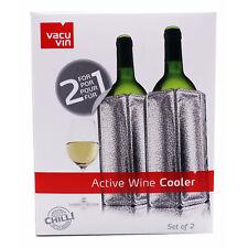 2er Set Aktiv Flaschenkühler Weinkühler silber 0,75-1L. Flaschen Kühlmanschette