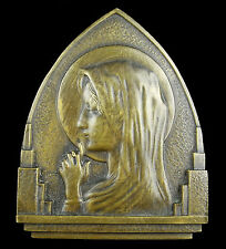 Médaillon Vierge Marie Virgin Maria bronze 10 cm vers 1900 à poser medal