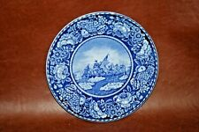 """British Anchor 10"""" Flow Blue Collector Plate - Washington Crossing the Delaware"""