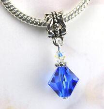 Large Blue Crystal Dangle Charm Beads w Swarovski Elements European Style