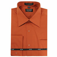 New Milani Men's regular dress shirt cotton blend long sleeve French cuff rust