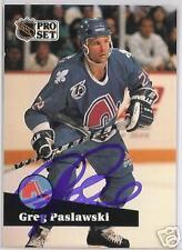 GREG PASLAWSKI Quebec Nordiques 1992 PRO SET AUTOGRAPHED HOCKEY CARD JSA