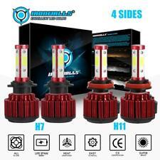 4x Combo H7+H11 Led Headlight Bulbs Kit 5000W 750000LM High Low Beam 6000K White
