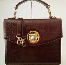 GIANNI VERSACE VINTAGE COUTURE MEDUSA CROC EMBSD LEATHER BROWN ITALY EXCELLENT