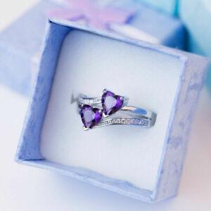 Elegant Heart Cut Ruby 925 Silver Rings Engagement Jewelry Women Rings Size 6-10