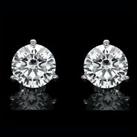 1.50CT CREATED DIAMOND MARTINI EARRINGS 14K WHITE GOLD SOLITAIRE ROUND CUT STUDS