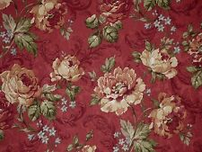 Mill Creek Floral BARN RED Green Beige Drapery Cotton Jacquard Sewing Fabric