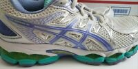 Asics Gel Nimbus 16 Womans Size 9.5 Running Shoes T485N White Purple Silver Mint