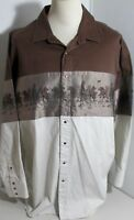 Western Cowboy Shirt Panhandle Slim Amber Pearl Snap Horse Inserts 100% Cot 2 XL