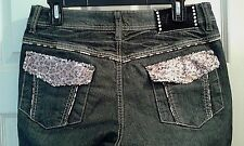 NEW  DEREON JEANS JUNIORS, MISSES  SIZE 9/10  - BACK POCKET BLING     (T003K)
