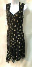 Sexy Vintage NWT Indian silk pattern beaded black bias cut evening dress sz L