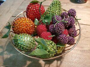 Vtg Lot BEADED PIN FRUIT Strawberries Apple Pear Lemon Lime Grape Peach Banana