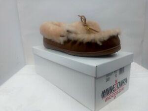 Minnetonka Moccasins Sheepskin Golden Tan Women's Shoes Slippers Size 10 #3401