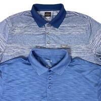 Lot 2 Mens XL Haggar Cool 18 & Greg Normal Play Dry Blue Golf Polo Shirts