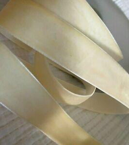 """Vintage 7/8"""" Velvet Ribbon Trim 3yds Made in Switzerland Butter Ivory"""