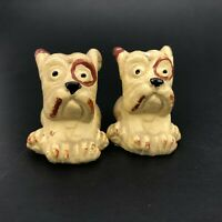 Vintage Old English Bulldog American Pit Bull Terriers Salt and Pepper Shakers