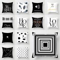 "18"" Black & White Geometric Throw Cover Pillow Cushion Square Case Home Decor"