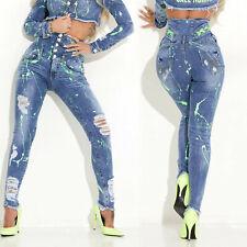 By Alina High Cintola Donna Jeans Pantaloni Skinny a Vita Bassa 34-38#C870