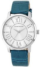 Anne Klein AK/1559SVTE Silver Dial Teal Leather Strap Women's Watch