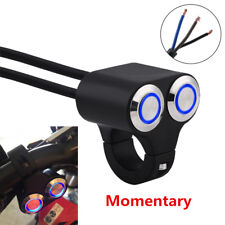 Blau LED 12V ATV Roller Motorrad Schalter Alu 22mm Lenker Selbstverriegelung 1x