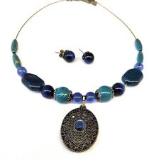 Avon  Green and Blue  Necklace Earrings Set Bronze Tone Metal