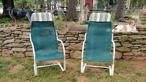 Vintage Lloyd Loom Flanders Wicker Outdoor Patio / Chair Set  Of Two Green White