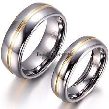 8 mm/6 mm Centro De Tono Oro Plata Anillo Parejas cúpula de Carburo de Tungsteno Anillo de bodas