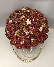 ARTIFICIAL WEDDING FLOWERS RED GOLD ROSE LARGE BRIDE BOUQUET ASIAN PEARL BROOCH