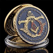 European Masonic Freemasonry Brotherhood Gold And Blue Coin Collectible Souvenir