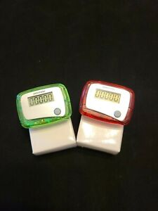 Set of 2 Pedometers With Attached Belt Clip 3 Different Colors To Choose From