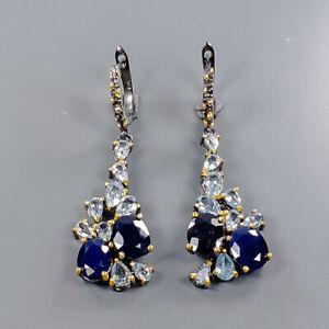 Gemstone jewelry art Blue Sapphire Earrings Silver 925 Sterling   /E55394