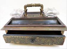 Antique Lund Maker Cornhill, London, ca. 1800's, Writing Box Desk Double Inkwell