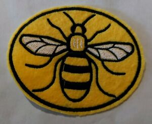 Manchester Bee embroidered patch iron or sew