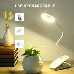 LED USB Clip On Desk Lamp Rechargeable Memory Bed Read Table Study Light