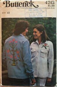 Vintage 1970s Men's Shirt Pattern Women's WITH TRANSFERS Butterick 4742 Sz 42