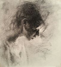 EVENING LIGHT Portrait of a Young Girl Original Charcoal Chalk Drawing Realism