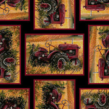 Pheasant Run Fabric Red Tractors Blank Quilting #9611 99 Quilt Shop Quality