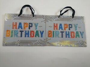 "2X LOT SPRITZ HAPPY BIRTHDAY GIFT BAG 12.75 X 10 X 5"" GRAY WITH GOLD DESIGN"