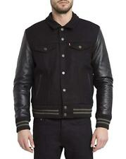65% OFF LEVIS Black Padded WARM WINTER Jacket With Leather Sleeves 2XL